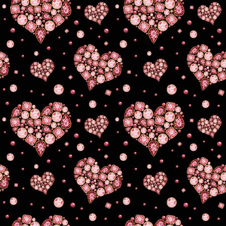 Seamless pattern Watercolor Heart from red pink crystal with gold element on black background. Fashion brilliant Beautiful jewelry. Wedding Love or Valentines Day banner, poster, card texture fabric