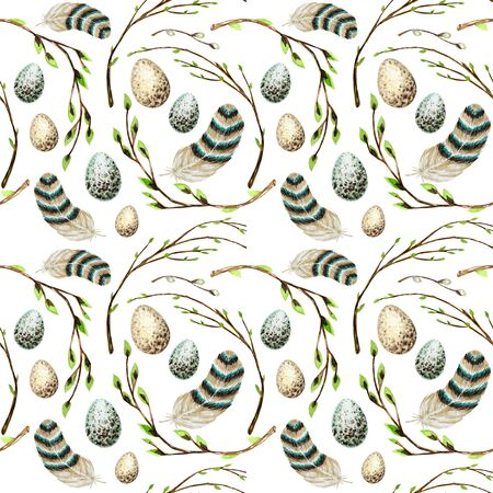 Seamless pattern Watercolor hand drawn Easter eggs, bird Bright feather, willow tree branch with green leaves. Illustration fabric texture Design concept on a white background. Chickens egg. Zdjęcie Seryjne
