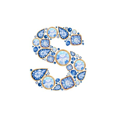 Classic Blue Crystal letter. Alphabet with diamonds and brilliant, jewelry shop logo concept on white background. Watercolor bright illustration. Shiny glamour trandy fashion gem font. Latter S.