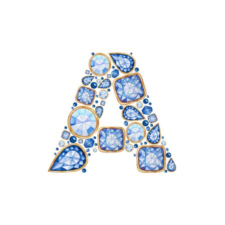 Classic Blue Crystal letter. Alphabet with diamonds and brilliant, jewelry shop logo concept on white background. Watercolor bright illustration. Shiny glamour trandy fashion gem font. Latter A.