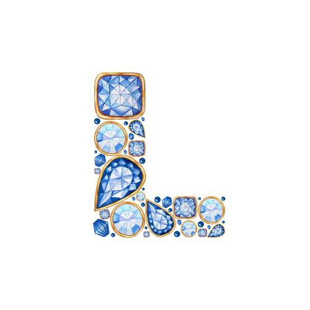 Classic Blue Crystal letter. Alphabet with diamonds and brilliant, jewelry shop logo concept on white background. Watercolor bright illustration. Shiny glamour trandy fashion gem font. Latter L. Zdjęcie Seryjne
