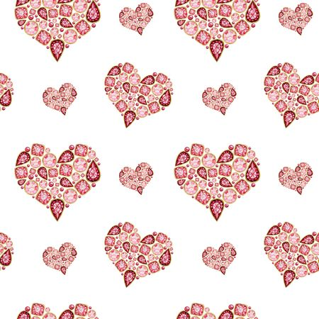 Seamless pattern Watercolor Heart from red pink crystal with gold element on white background. Fashion brilliant Beautiful jewelry. Wedding Love or Valentines Day banner, poster, card texture fabric