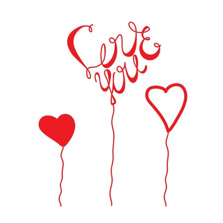 Love You red lettering Valentines Day calligraphy phrase with heart balloons form isolated on white background. Hand drawing text for make your design by greeting card, t-shirt print, flyer, poster Ilustracja