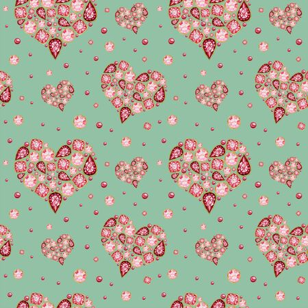 Seamless pattern Watercolor Heart from red pink crystal with gold element on mint green background. Fashion brilliant Beautiful jewelry. Wedding Love Valentines Day banner, poster card texture fabric Zdjęcie Seryjne