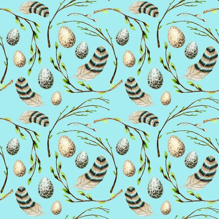 Seamless pattern Watercolor hand drawn Easter eggs, bird Bright feather, willow tree branch with green leaves. Illustration fabric texture Design concept on a blue background. Chickens egg.