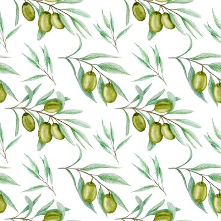 Seamless pattern Watercolor green olive tree branch leaves. Realistic olives illustration on white background, Hand painted fabric texture. Design for invitations, greeting card, poster, label concept