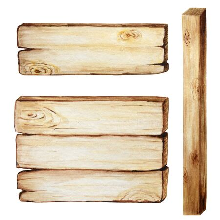 Watercolor Wooden signboards, empty Blank isolated. Set of vintage old, retro Hand painted wood banners, planks, board. Signs for messages for pathfinding. Illustration with space for text Zdjęcie Seryjne