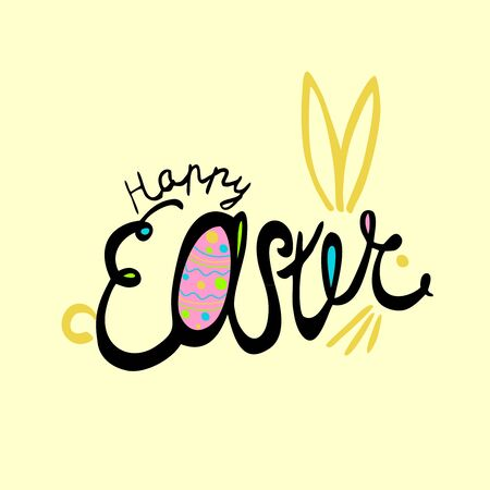 Bright colors happy Easter Hand drawn calligraphy and brush pen lettering in the form of a rabbit and egg. Vector Concept Design of the happy Easter day for holiday greeting card and invitation
