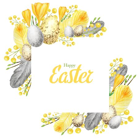 Watercolor Spring happy Easter frame with inscription. Hand drawn tree branch with feathers, eggs, leaves square border illustration. Design for invitations, greeting card, poster, print concept. Фото со стока