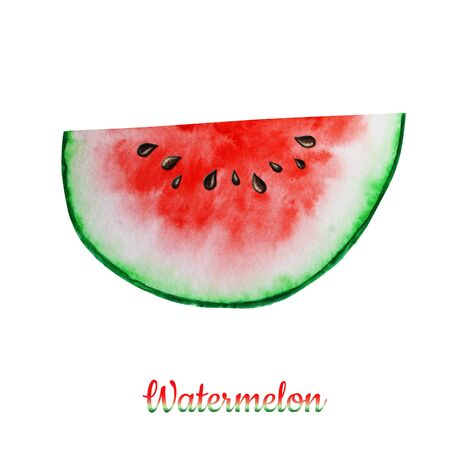 Watermelon slice fruit watercolor hand drawn illustration, fresh healthy food - organic natural food isolated on white background. Banco de Imagens