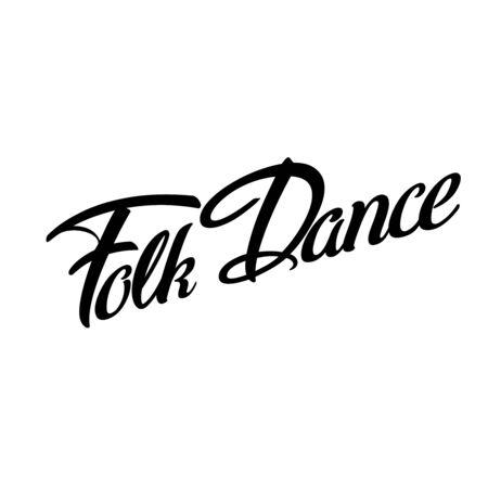 Folk Dance logotype icon concept. Ballet studio logo design template. Classic or folk dance class lettering. Vector illustration. 向量圖像