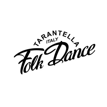Italy Folk Dance Tarantella logotype icon concept. Ballet studio logo design template. Classic or folk dance class lettering. Vector illustration.