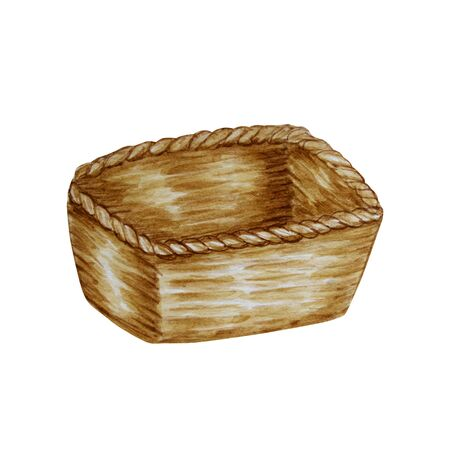 Watercolor empty wooden wicker basket isolated on white background. Hand drawn illustration.
