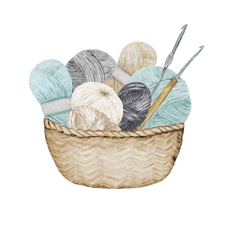 Blue gray beige Crocheting Knitting Shop Logotype, Branding, Avatar composition of yarns balls, crochet hooks in wicker basket . Illustration for handmade Crocheting icons scandinavian vintage style.