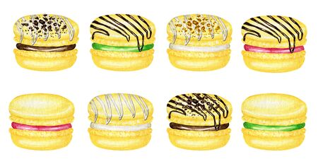 Hand drawn watercolor french macaron cakes set. Yellow Banana Citrone Pastry dessert Isolated on white background colorful macaroon biscuits, sweet with Chocolate, berries filling. Reklamní fotografie