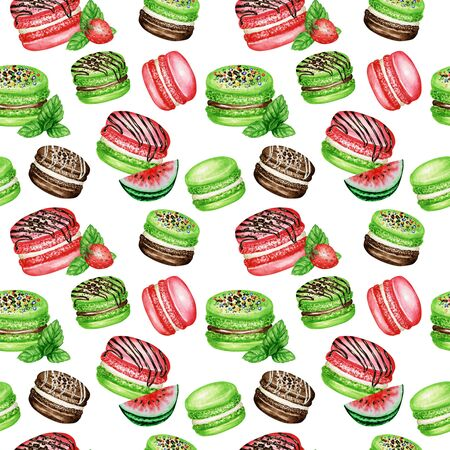 Hand drawn watercolor french macaron cakes seamless pattern. Chocolate, Vanilla, fruit Pastry dessert on white background colorful macaroon biscuits, Watermelon Strawberry Mint sweet fabric texture.