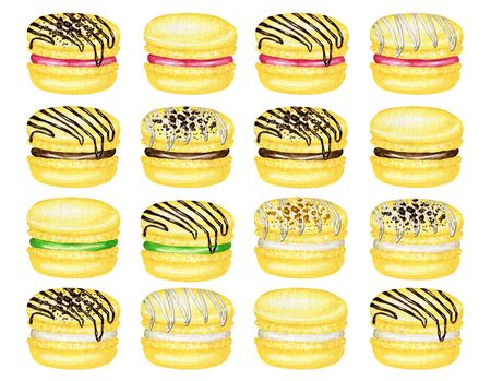 Hand drawn watercolor french macaron cakes set. Yellow Banana Citrone Pastry dessert Isolated on white background colorful macaroon biscuits, sweet with Chocolate, berries filling. Zdjęcie Seryjne