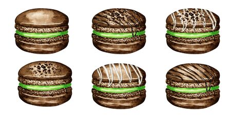Hand drawn watercolor french macaron cakes set. Chocolate Pastry dessert Isolated on white background colorful macaroon biscuits, sweet with green berries filling. Zdjęcie Seryjne