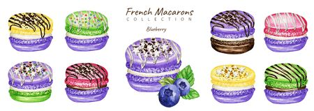 Watercolor macaron cakes set. Red Pink Raspberry mint fruit Pastry french dessert. Hand drawn isolated on white background colorful macaroon biscuits, sweet decorated with Chocolate, vanilla creame. Zdjęcie Seryjne