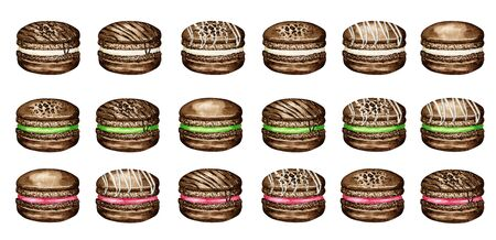 Hand drawn watercolor french macaron cakes set. Chocolate Pastry dessert Isolated on white background colorful macaroon biscuits, sweet with berries, Strawberry, Raspberry.