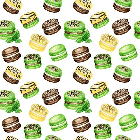 Hand drawn watercolor french macaron cakes seamless pattern. Chocolate, Vanilla, banana, mint Pastry dessert on white background colorful macaroon biscuits sweet fabric texture, scrapbook paper.