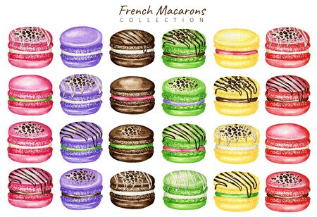 Hand drawn watercolor french macaron cakes set. Macaroon biscuits Mix Fruit Red Pink Green fruit Pastry dessert Isolated on white background, sweet decorated with Chocolate, vanilla creame.