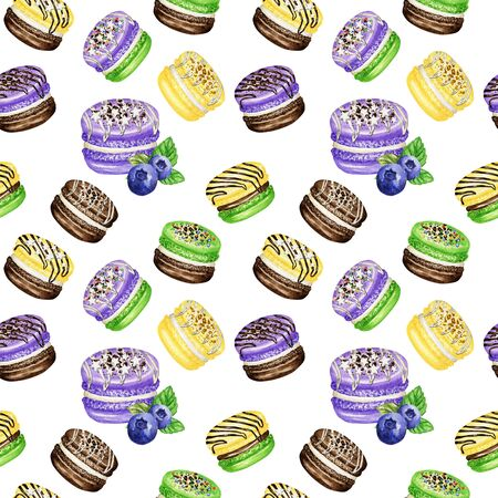 Hand drawn watercolor french macaron cakes seamless pattern. Chocolate, Vanilla, fruit Pastry dessert on white background colorful macaroon biscuits, Blueberry Mint Banana sweet fabric texture.