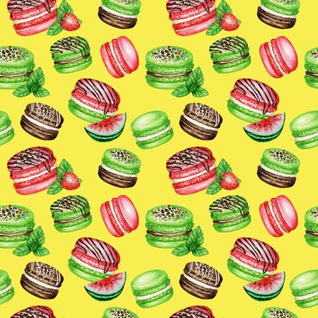 Hand drawn watercolor french macaron cakes seamless pattern. Chocolate, Vanilla, fruit Pastry dessert on yellow background colorful macaroon biscuits, Watermelon Strawberry Mint sweet fabric texture.