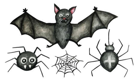 Halloween spider web, Vampire Bat flying and spiders isolated watercolor illustration on white background for Happy Halloween greeting card, poster, banner. Funny cartoon insect.