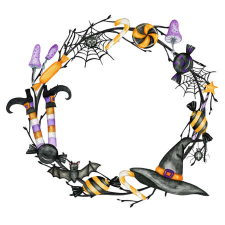 Happy Halloween holiday party Frame with wich hat, bat, spider, candy sweets party decorations. Watercolor Cartoon illustration isolated on white background. Halloween spooky cemetery