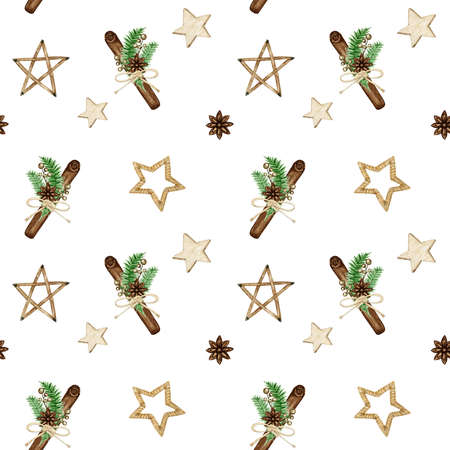 Christmas seamless pattern with pine branches, wooden stars, Cinnamon stick, star anise. Watercolor Vintage Boho style background illustration. Wrapping Paper, Scrapbooking, fabric texture design. Foto de archivo
