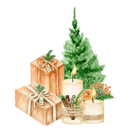 Watercolor green Christmas tree with present boxes, candles, gifts with silk ribbon bows and pine branches Isolated illustration on white background. Hand drawn elements.