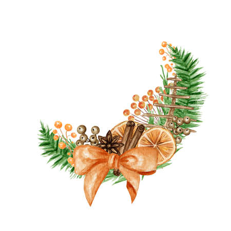 Christmas Boho bouquets with pine branches, Cinnamon stick, star anise, Orange. Watercolor Vintage composition isolated illustration. For the design of Christmas, New Year cards and invitations.