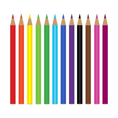 Set of 12 colored pencils on white background.