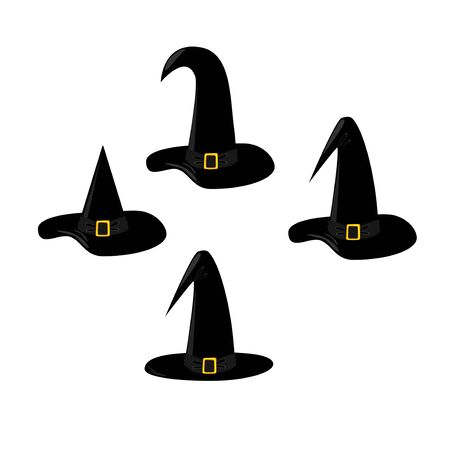 Set of black Halloween hats Фото со стока