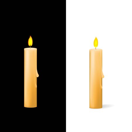 Candle on white and black background