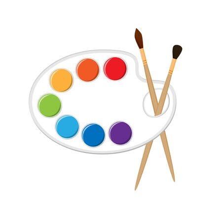 Palette with paints and brushes. Isolated on white background Фото со стока