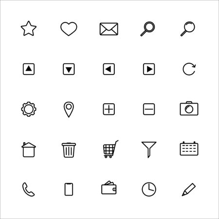 Set of basic outline icons in black Иллюстрация