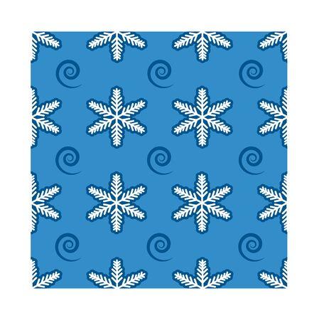 Snowflakes and swirls seamless pattern
