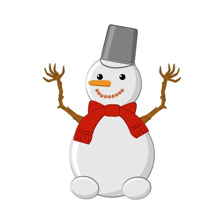 Snowman. Cute snowman with a bucket on his head and a red scarf.Isolated on white background Ilustrace