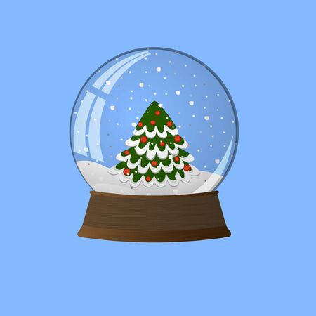 Snow ball with Christmas tree Иллюстрация