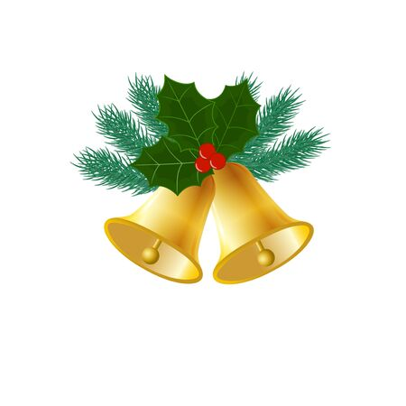 Christmas bells. Cute Christmas composition with bells, fir branches and Holly leaves
