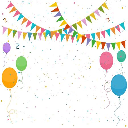 Festive bright colorful background with flags, balloons and confetti.