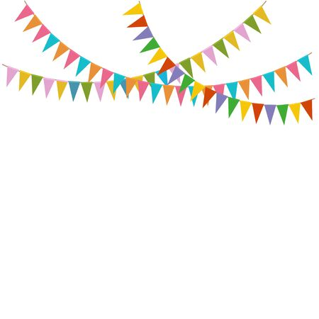 Bright colorful garlands of flags. Festive background. Isolated on white background. Иллюстрация