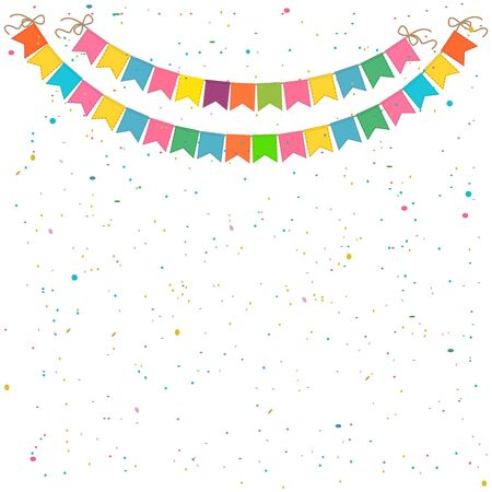Festive background with garlands of flags and confetti. Isolated on white background. Иллюстрация