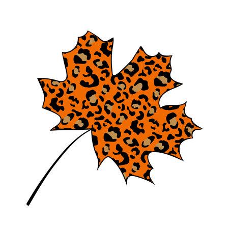 Maple leaf leopard pattern Иллюстрация