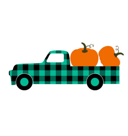 Buffalo plaid truck with pumpkins Фото со стока