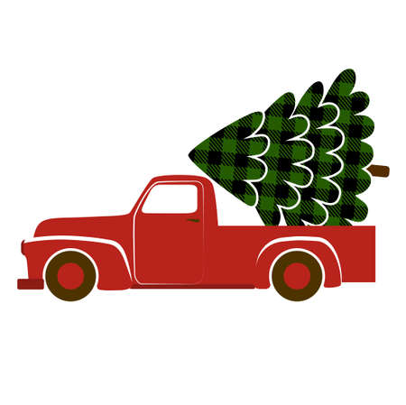 Truck with a buffalo plaid Christmas tree.