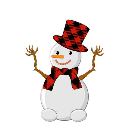 Snowman with a buffalo plaid hat and a buffalo plaid scarf