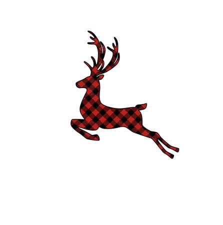 Jumping buffalo plaid Christmas deer